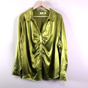 Cato Womens Green Shimmery Satin Button Blouse 28W